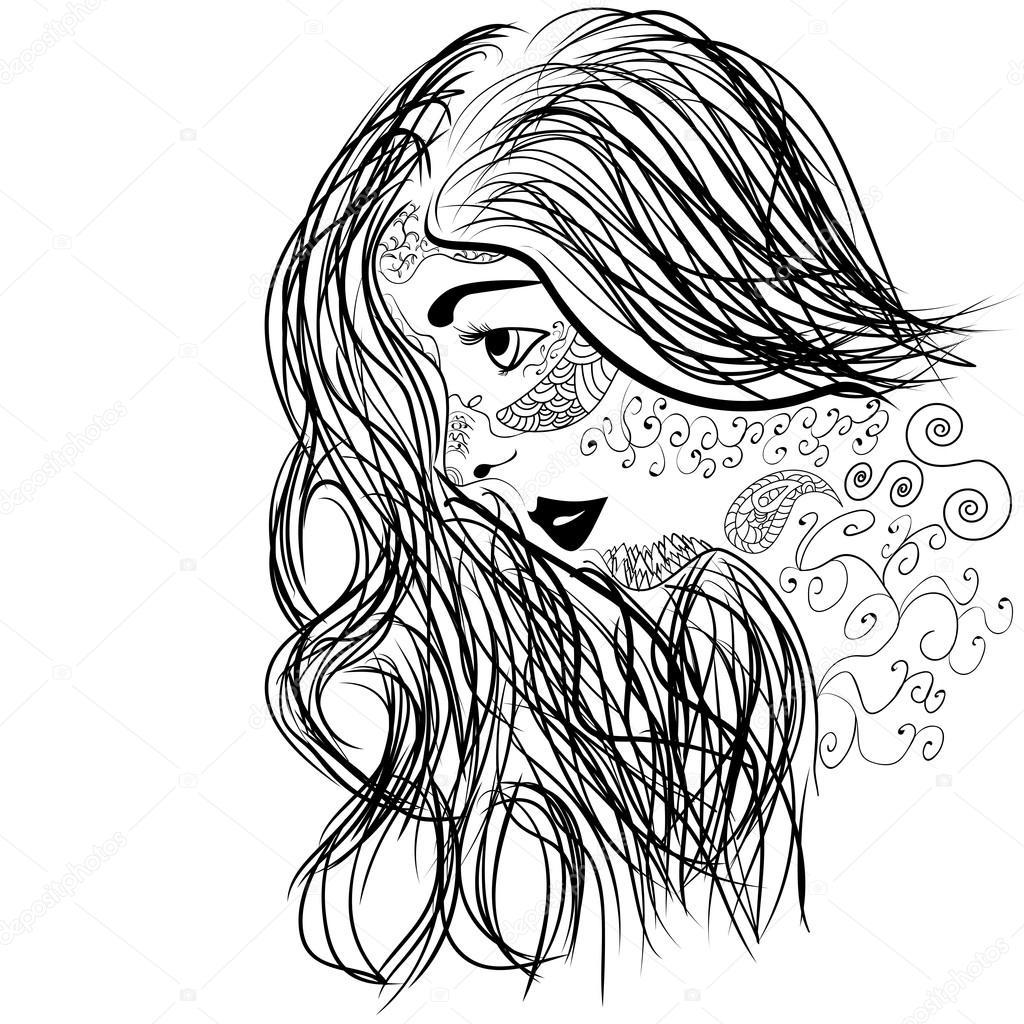 Вектор лицо красивой девушки