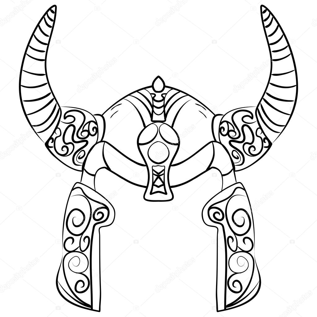 Noir et blanc dessin anim casque de viking image - Dessin de viking ...