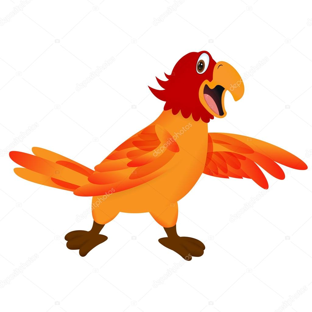 Funny cartoon parrot