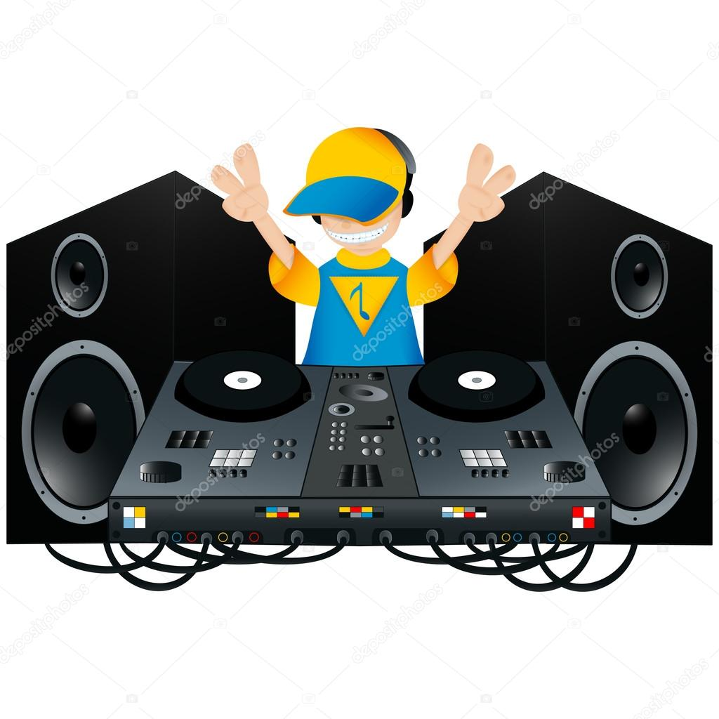 Cute DJ with a turntable and two speakers — Stock Vector ...
