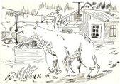 White bear came to the village — Stock Photo
