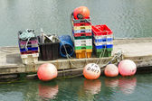 Fishing bouys, trays and paraphernalia — Stock Photo