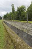 Watchtower and perimeter today. Dachau Concentration Camp. — Stock Photo
