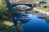 Afon Claerwen with Bridge. Tranquil river in welsh countryside. — Stock Photo