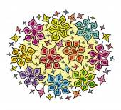 Colorful Hand Drawn Bunch of Cartoon Flowers — Vector de stock