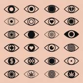 Set of Various Eye Icons — Stock Vector