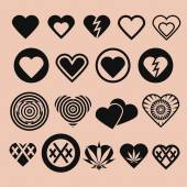 Set of Various Heart Icons — Stock Vector