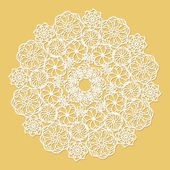 White lace serviette on yellow background — Vector de stock