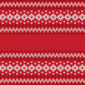 Winter Geometric Ornament Seamless Pattern in Red and White from Knitted Fabric with Copy Space for Merry Christmas or Happy New Year — Stock Vector