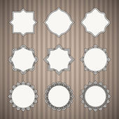 Set of Black Thin Line Vintage Frames with White Backing on Grey Striped Retro Background Saved as Seamless Pattern in Swatches Panel — Stock Vector