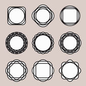 Set of Round Black Line Design Vintage Frames or Badges with Easily Editable White Backing on Grey Background — Stock Vector