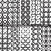 Set of Trendy Vintage Black Thin Line Seamless Pattern Backgrounds with Flower Elements All Present as Endless Texture in Swatch Panel — Wektor stockowy