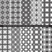 Set of Trendy Vintage Black Thin Line Seamless Pattern Backgrounds with Flower Elements All Present as Endless Texture in Swatch Panel — Stok Vektör