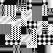 Abstract Black and White Patchwork — Stok Vektör
