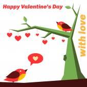 Birds in love on the tree, full of hearts. — Stock Vector
