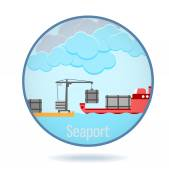 Colored seaport in a circle frame. — Vector de stock