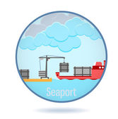 Colored seaport in a circle frame. — Vettoriale Stock