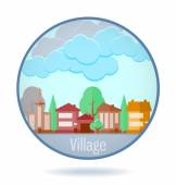 Colored village in a circle frame. — Stock Vector