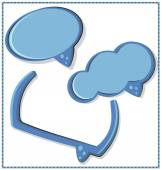 Blue speech bubble with a frame, 3 pcs — Stock Vector