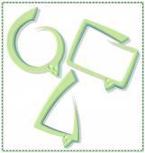 Green speech bubble with a frame, 3 pcs — Stock Vector
