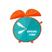 Doodle table clock. Spring time. — Stock Vector