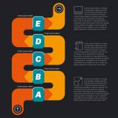 Snake shape infographics, dark background with icons. — Stockvector