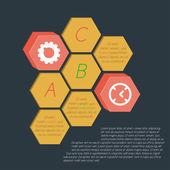 Infographics honeycombs (hexagonal) isothermally drawn. — Stock Vector