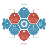 Infographics honeycombs (hexagonal) with footnotes. — Stock Vector