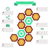 Infographics honeycombs (hexagonal) with footnotes.  — Stock Vector