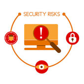 Infographics showing the risks that are usually related to compu — Stock Vector
