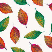 Vector seamless pattern with watercolor leaves — Stok Vektör