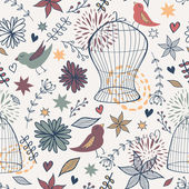 Vector cute seamless floral pattern with birds, cages, flowers, — Stock Vector