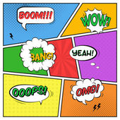 Vector colorful template of comic book page with various speech  — Stock Vector