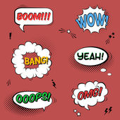 Vector set with comic speech bubbles with sound effects, stars a — Stockvector