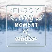 Vector blurred winter landscape background with motivational phr — Stock Vector