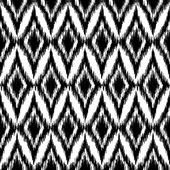 Vector seamless black and white ikat ethnic pattern — ストックベクタ