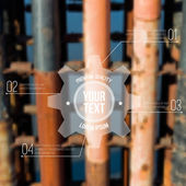 Vector blurred industrial background with label. Can be used as website or infographic template. — Stockvector