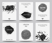 Vector set of modern posters with geometrical shapes and splashes. Trendy hipster style for flyers, banners, invitations, business contemporary design. — 图库矢量图片