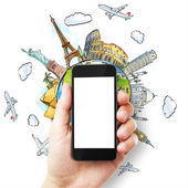 Hand with  phone and travel concept — Stockfoto