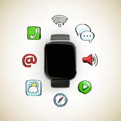 Smart watch with media icons — Stock Photo