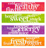 Nutrition words banner set — Stock Vector