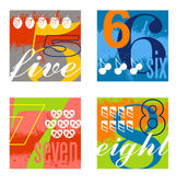 Colorful number designs set 2 — Stock Vector