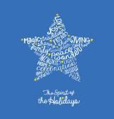 Handwritten Christmas star card Word Cloud design — Stock Vector