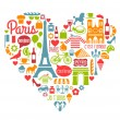 Paris France Icons Landmarks and attractions in a heart shape — Stock Vector #59766509