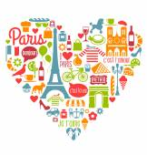 Paris France Icons Landmarks and attractions in a heart shape — Stock Vector