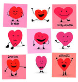 Valentines Day Hearts cartoons — Vettoriale Stock