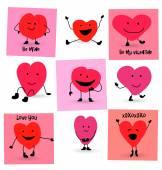 Valentines Day Hearts cartoons — ストックベクタ