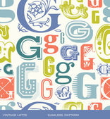 Seamless vintage pattern of the letter g in retro colors — Stock Vector