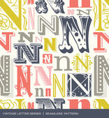 Seamless vintage pattern of the letter n in retro colors — Stock Vector
