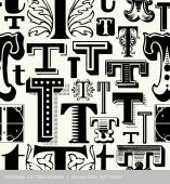 Seamless vintage pattern of the letter t — Stock Vector